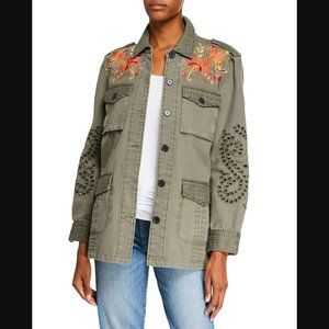 Johnny Was Violette Eyelet Jacket M Military NWT